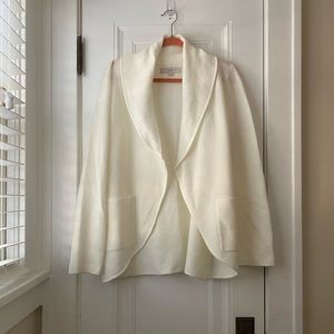 Loft winter white shawl collar cardigan sweater L